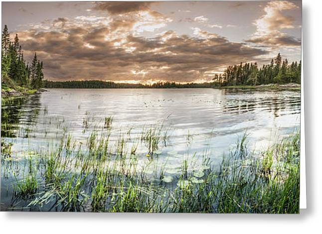 Sunset Over A Pond  Thunder Bay Greeting Card by Susan Dykstra
