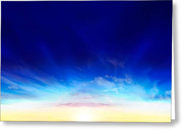 Sunset Over The Sea Greeting Card by Panoramic Images