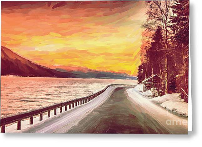 Sunset Greeting Card by Sylvia  Niklasson