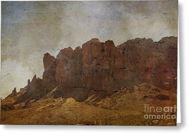 Superstition Mountains Greeting Card by Beverly Guilliams