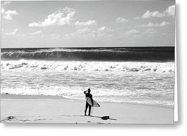 Surfer Standing On The Beach, North Greeting Card by Panoramic Images