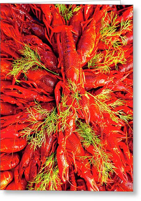 Sweden - Crayfish With Dill Eaten Greeting Card by Panoramic Images