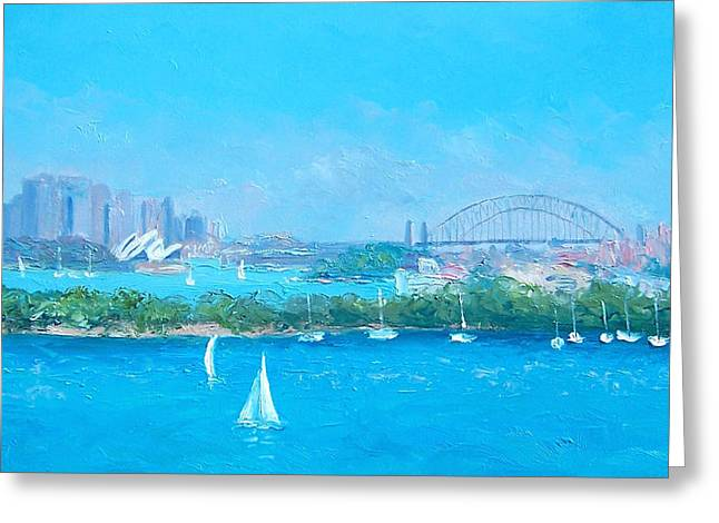 Sydney Harbour And The Opera House By Jan Matson Greeting Card