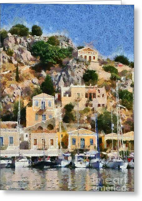Symi Island Greeting Card by George Atsametakis