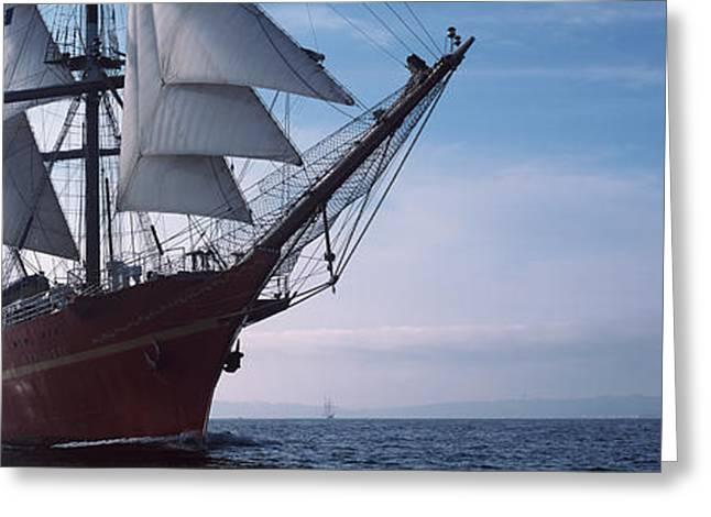 Tall Ships Race In The Ocean, Baie De Greeting Card
