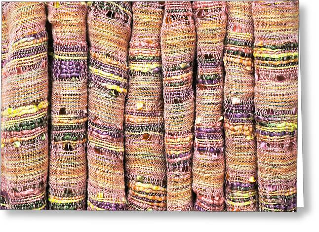Textile Background Greeting Card by Tom Gowanlock