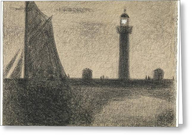 The Lighthouse At Honfleur Greeting Card by Georges Seurat