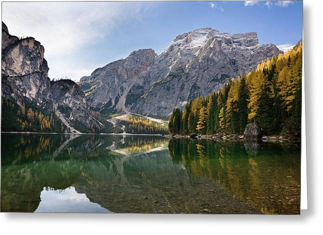 The Pragser Wildsee (lake Prags, Lago Greeting Card