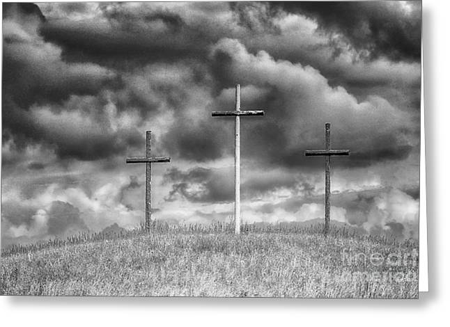 Three Crosses On Hill Greeting Card