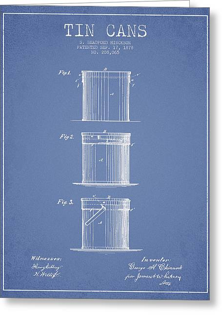 Tin Cans Patent Drawing From 1878 Greeting Card by Aged Pixel
