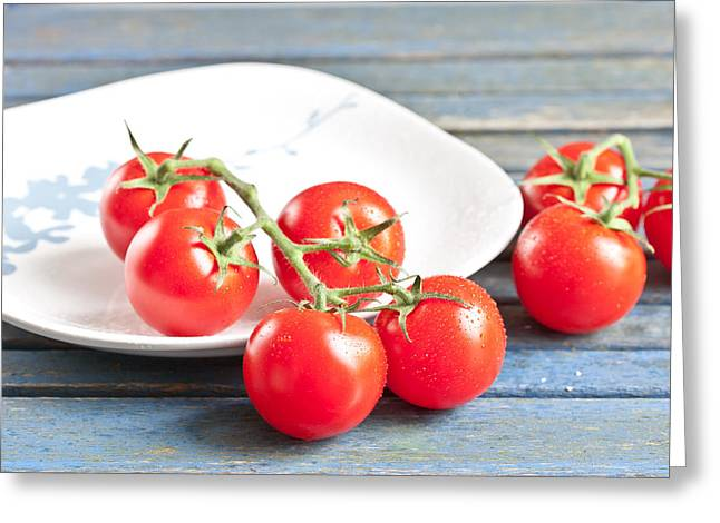 Tomatoes Greeting Card by Tom Gowanlock