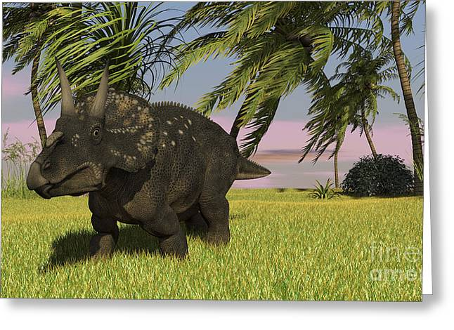 Triceratops Roaming A Tropical Greeting Card by Kostyantyn Ivanyshen