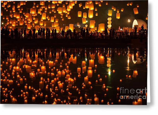 Tudongkasatarn Is Where Floating Lamp Ceremony Greeting Card by Anek Suwannaphoom