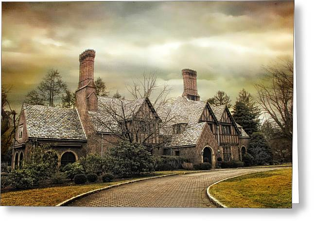 Tudor In Winter Greeting Card by Jessica Jenney