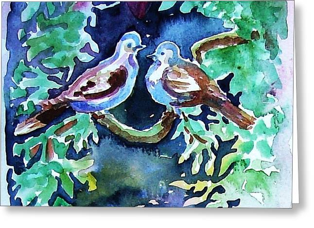 Two Turtle  Doves Greeting Card by Trudi Doyle