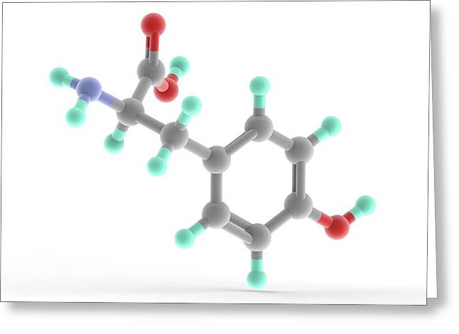 Tyrosine Molecule Greeting Card by Alfred Pasieka/science Photo Library