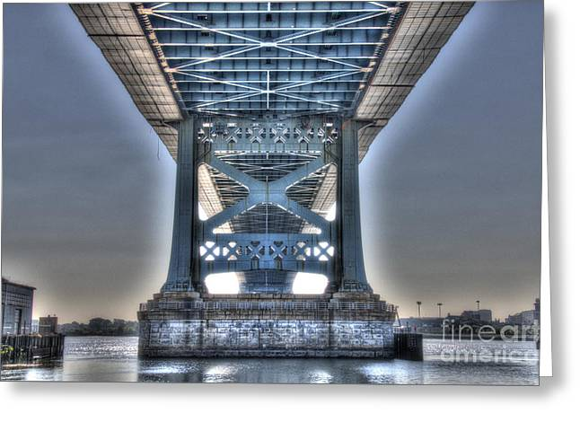 Under The Bridge - Ben Franklin, Philadelphia Greeting Card by Mark Ayzenberg