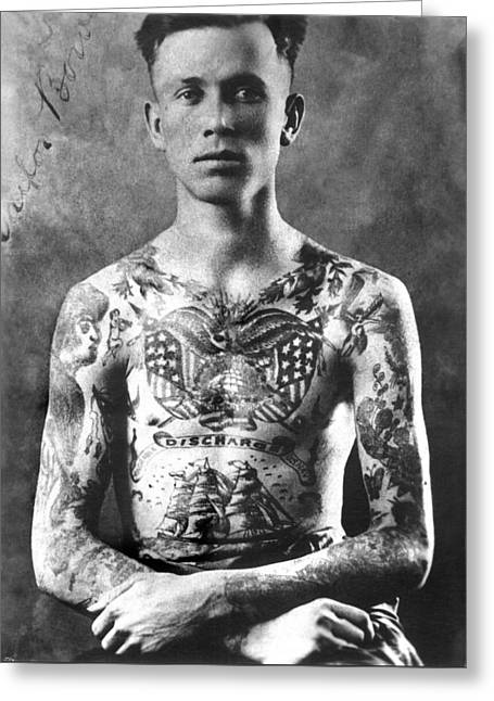 Vintage Tattoo Photograph And Flash Art Greeting Card by Larry Mora