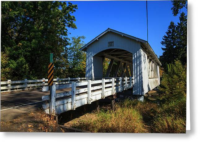 Usa, Oregon, Scio, The Larwood Bridge Greeting Card