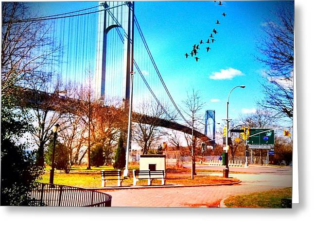 Verrazano Narrows Bridge Greeting Card by Frank Winters
