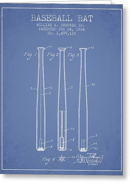 Vintage Baseball Bat Patent From 1924 Greeting Card by Aged Pixel