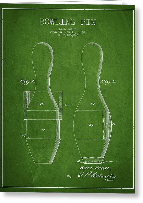 Vintage Bowling Pin Patent Drawing From 1938 Greeting Card