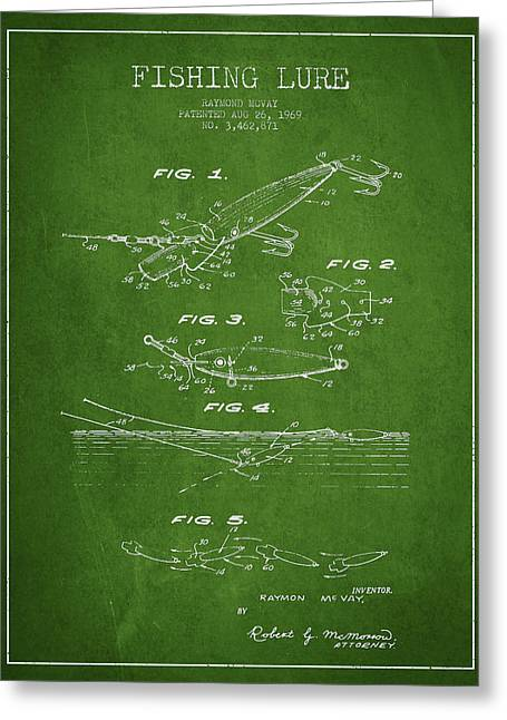 Vintage Fishing Lure Patent Drawing From 1969 Greeting Card
