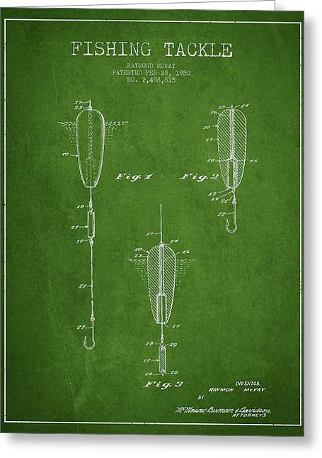 Vintage Fishing Tackle Patent Drawing From 1950 Greeting Card