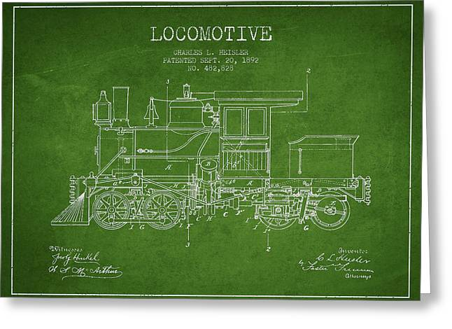 Vintage Locomotive Patent From 1892 Greeting Card by Aged Pixel
