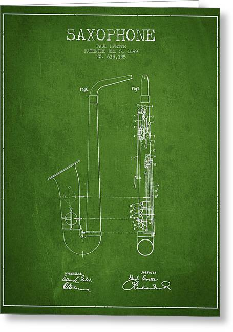 Saxophone Patent Drawing From 1899 - Green Greeting Card by Aged Pixel