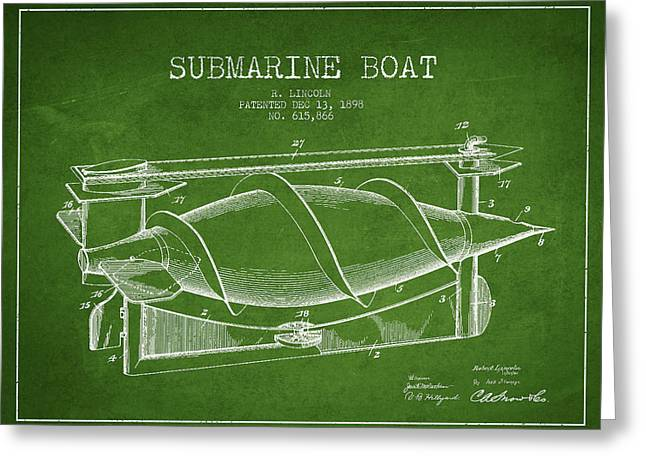Vintage Submarine Boat Patent From 1898 Greeting Card by Aged Pixel