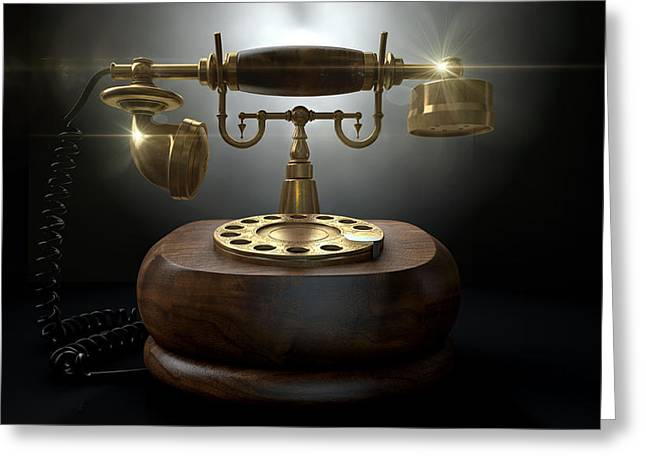 Vintage Telephone Dark Isolated Greeting Card by Allan Swart
