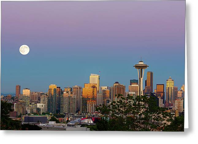 Wa, Seattle, Skyline View From Kerry Greeting Card