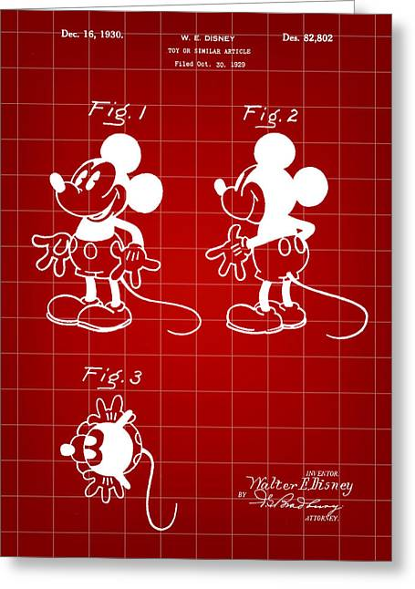 Walt Disney Mickey Mouse Patent 1929 - Red Greeting Card