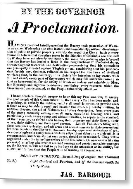 War Of 1812 Broadside Greeting Card