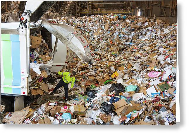 Waste Arriving At A Recycling Centre Greeting Card