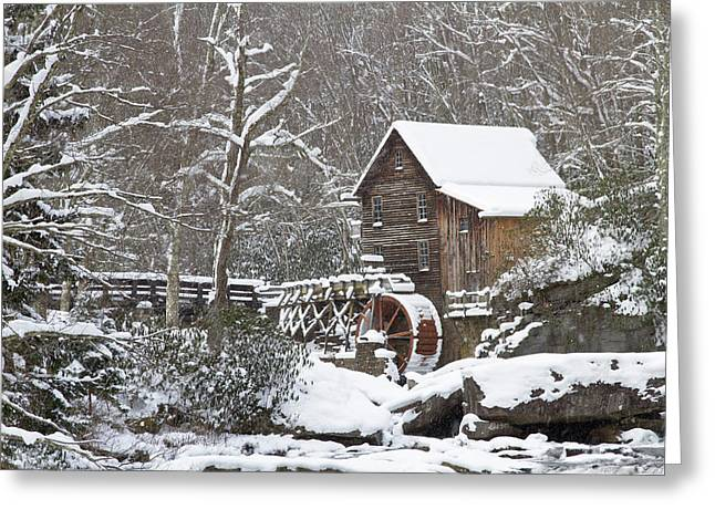 Watermill In A Forest In Winter, Glade Greeting Card