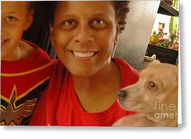 3 Way Selfie Greeting Card by Angela J Wright