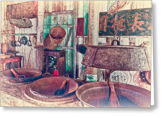 Greeting Card featuring the photograph 3-wok Kitchen by Jim Thompson