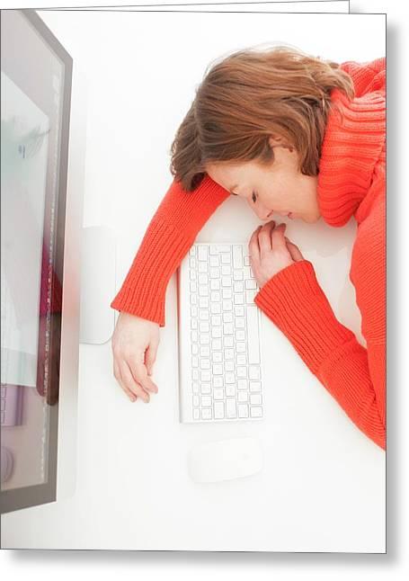Woman Asleep On Keyboard Greeting Card by Ian Hooton