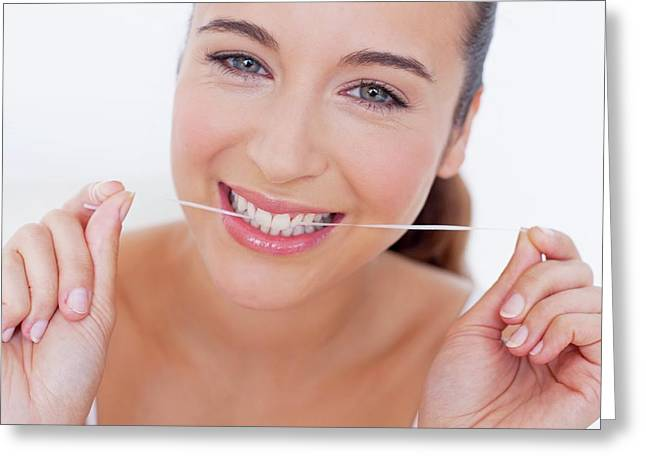 Woman Flossing Teeth Greeting Card
