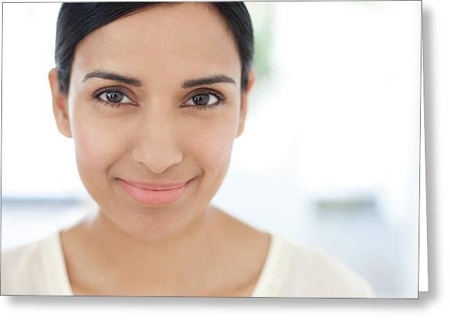 Woman Looking At Camera Greeting Card
