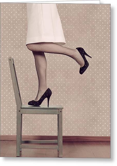 Woman On Chair Greeting Card by Joana Kruse