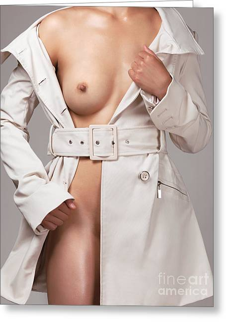 Woman Wearing Trench Coat Over Naked Body Greeting Card