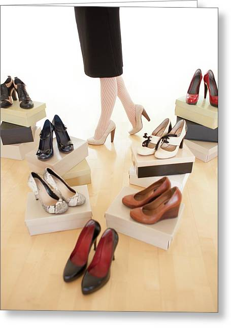 Woman With Shoes Greeting Card by Ian Hooton