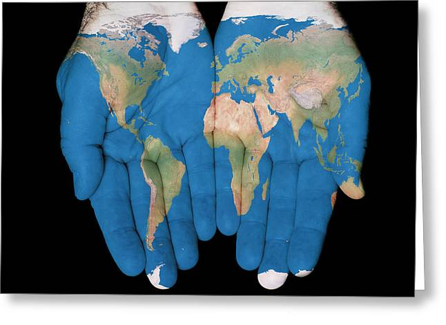 World In Our Hands Greeting Card