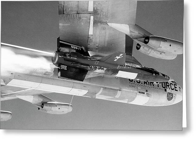 X-15 Aircraft On A Boeing B-52 Greeting Card by Nasa