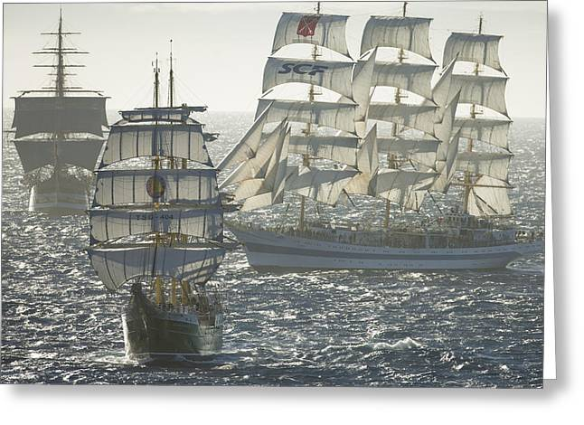3 X Tall Ships Greeting Card by Gilles Martin-Raget