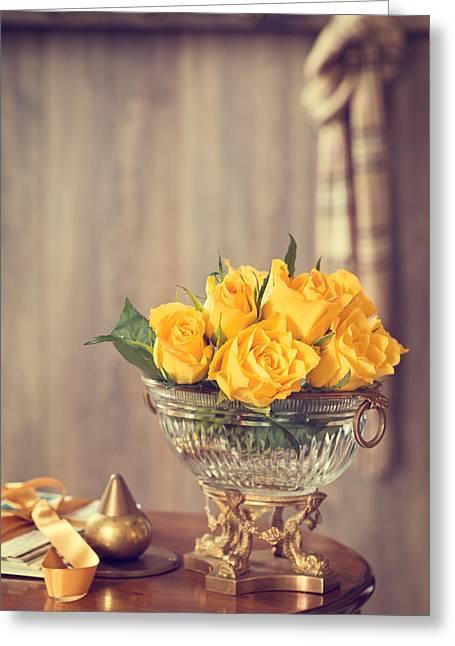 Yellow Roses Greeting Card by Amanda Elwell