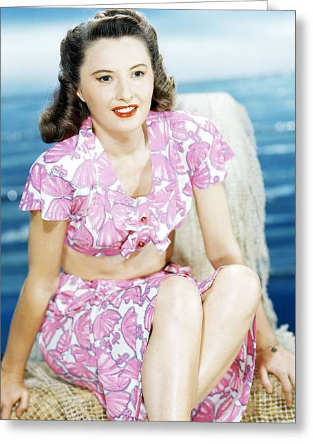 Barbara Stanwyck Greeting Card by Silver Screen